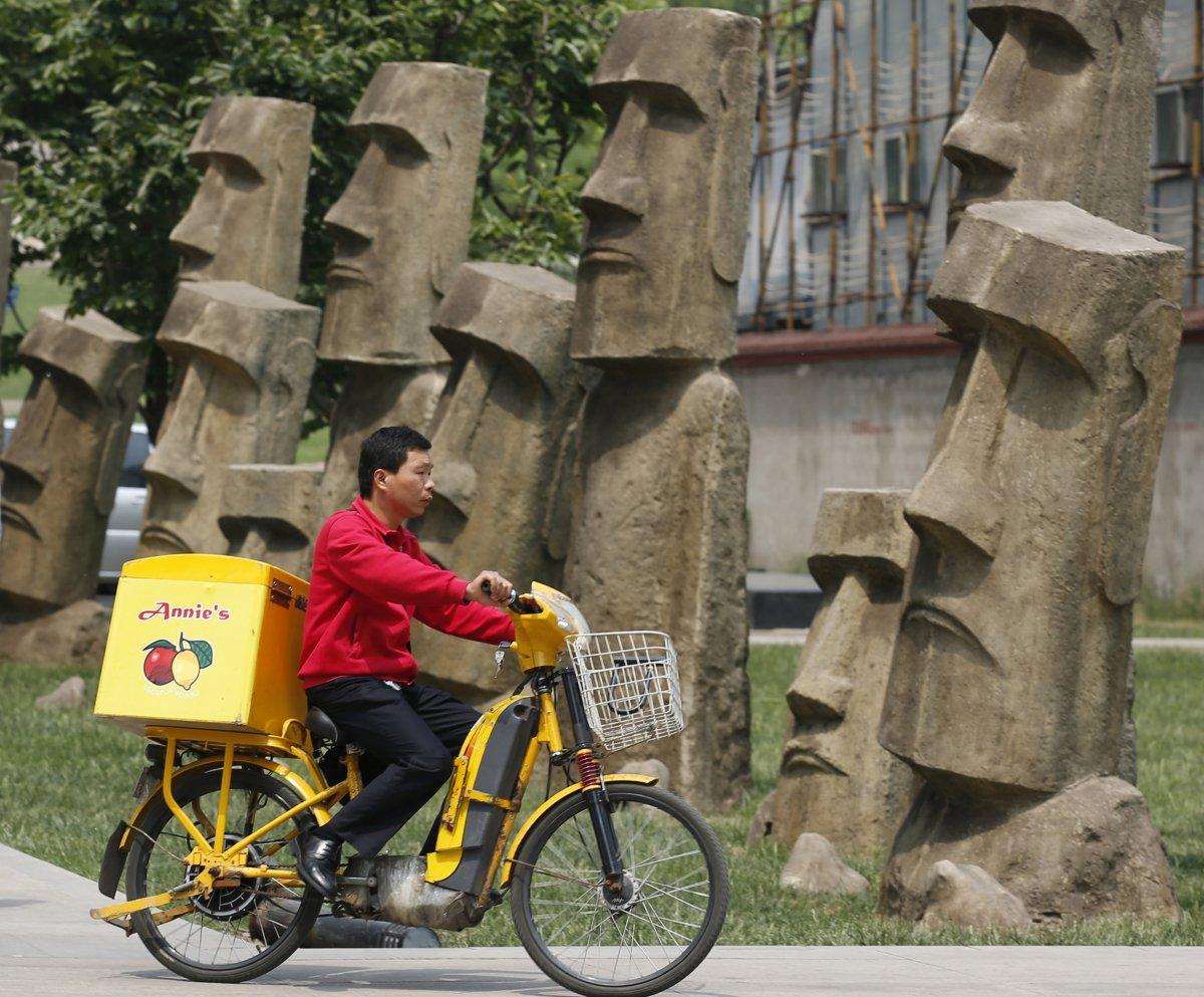 Beijing's replica 'Moai' statues.