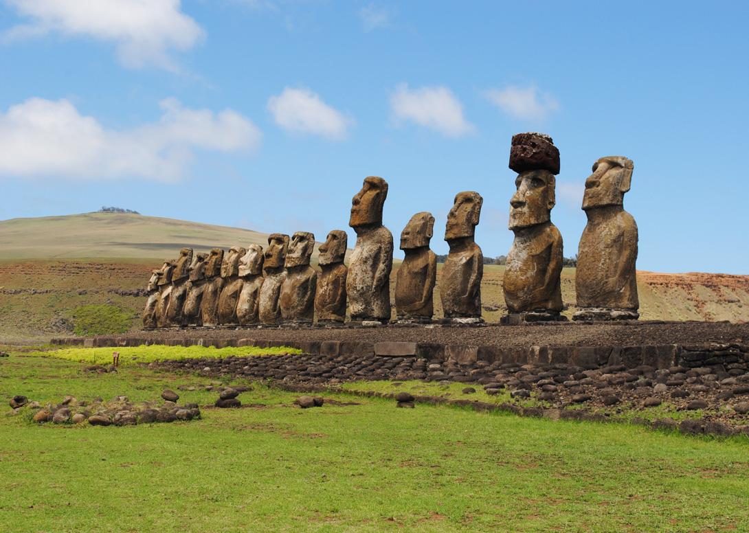 Real Moai statues.