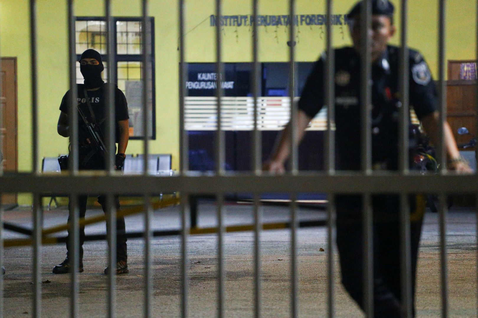 Malaysian police guarding the morgue at Hospital Kuala Lumpur (HKL) which holds Kim Jong-nam's body.