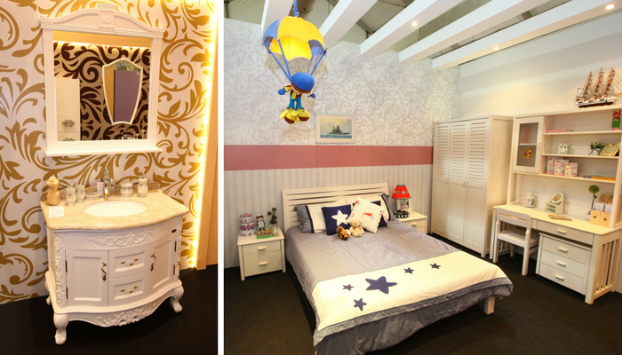 Arthur Crown Bathroom Set (left) and Happy Junior Kids Bedroom Set (right).