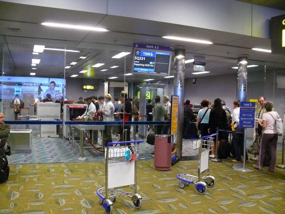 Customs line at Changi Airport.