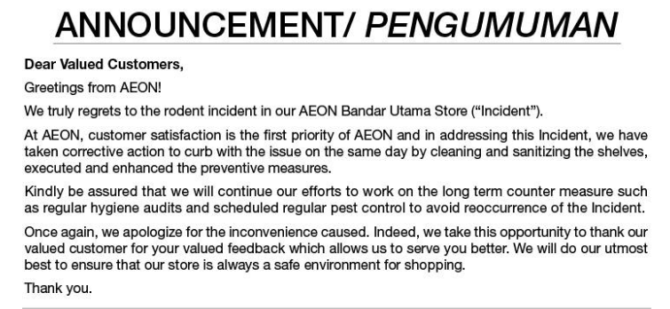 Image from AEON Retail Malaysia