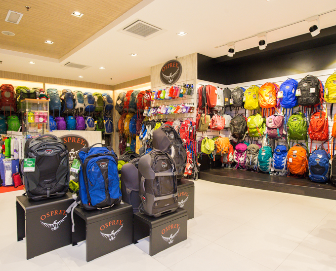 TearProof store selling Osprey gear at MidValley Mega Mall.