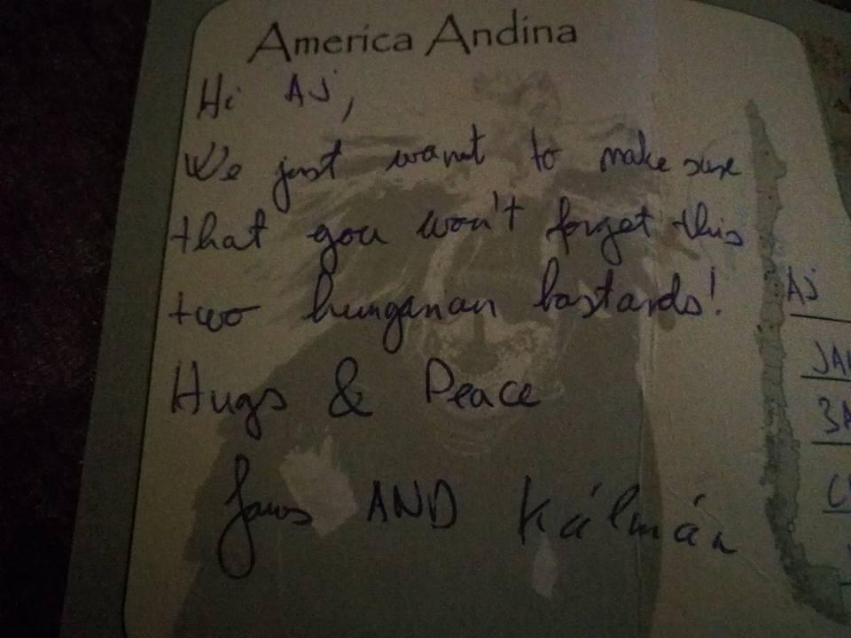 Thank you notes to AJ.