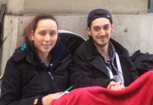 Thomas Gough (right) and Billie Green were the first two people in the London queue.