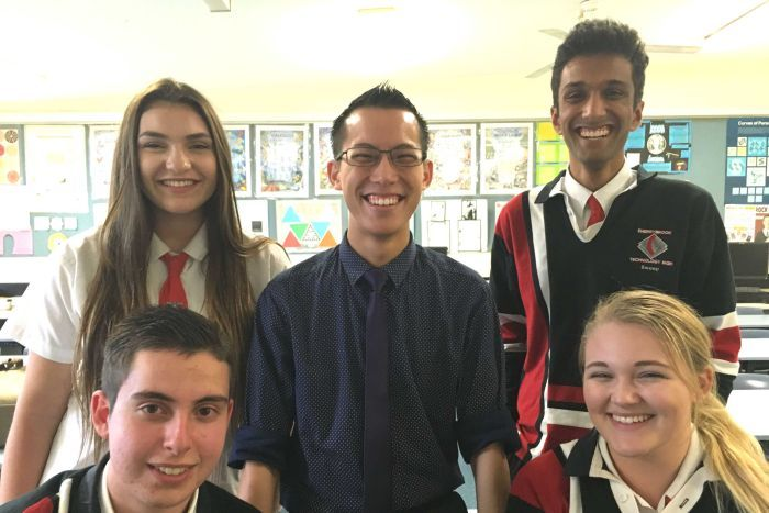 Eddie Woo with his students at Cherrybrook Technology High School.