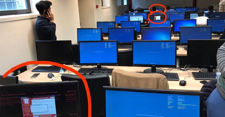 Multiple computers being attacked by WannaCry in an office.