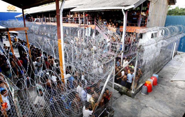 An overcrowded immigration detention centre in Malaysia at an unspecified location. (Undated photo)