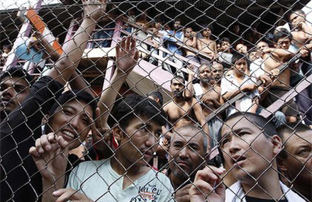 Refugees at a detention centre in Malaysia.