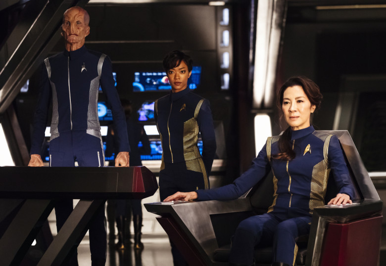From left: Doug Jones as Lt. Saru, Sonequa Martin-Green as Burnham, and Michelle Yeoh as Captain Georgiou.