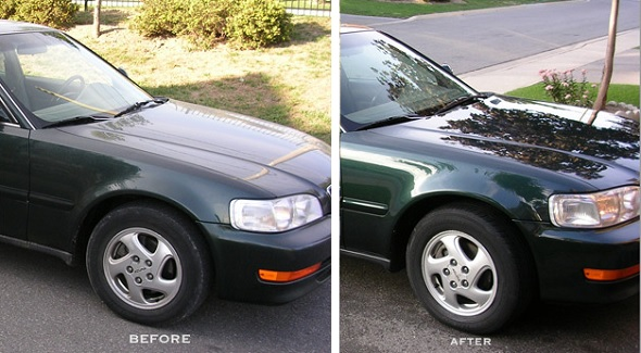 A before and after pic showing the difference between a coated and non-coated car.