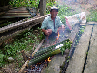 Ngelulun pulut - glutinous rice in bamboo roasted over open fire.