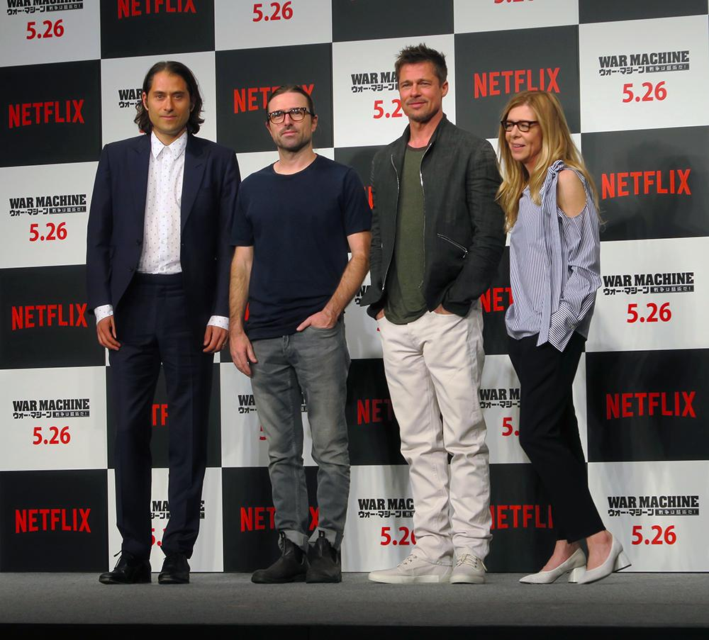 From left: Jeremy Kleiner, David Michôd, Brad Pitt, and Dede Gardner at the Japan press conference for the Netflix original film 'War Machine'.