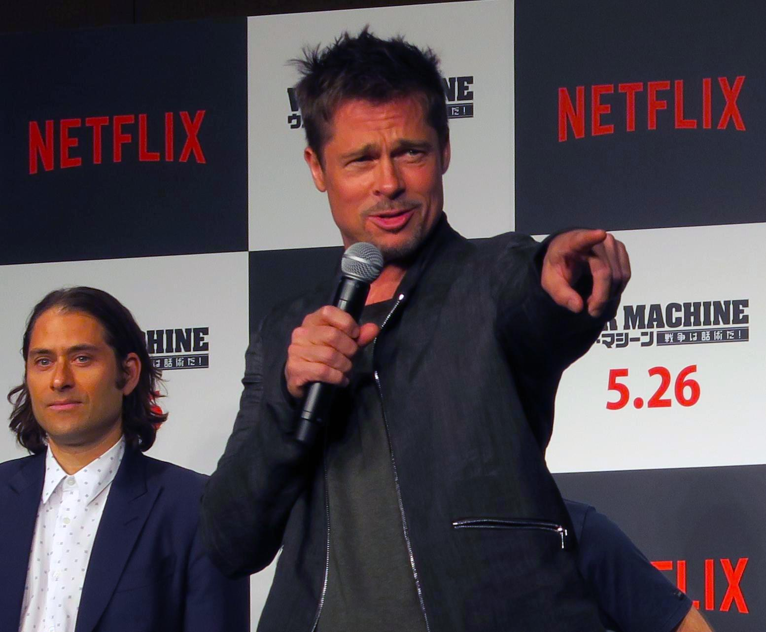 Jeremy Kleiner (left) and Brad Pitt (right) at the Japan press conference for the Netflix original film 'War Machine'.