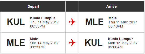 Our flight details to Male.
