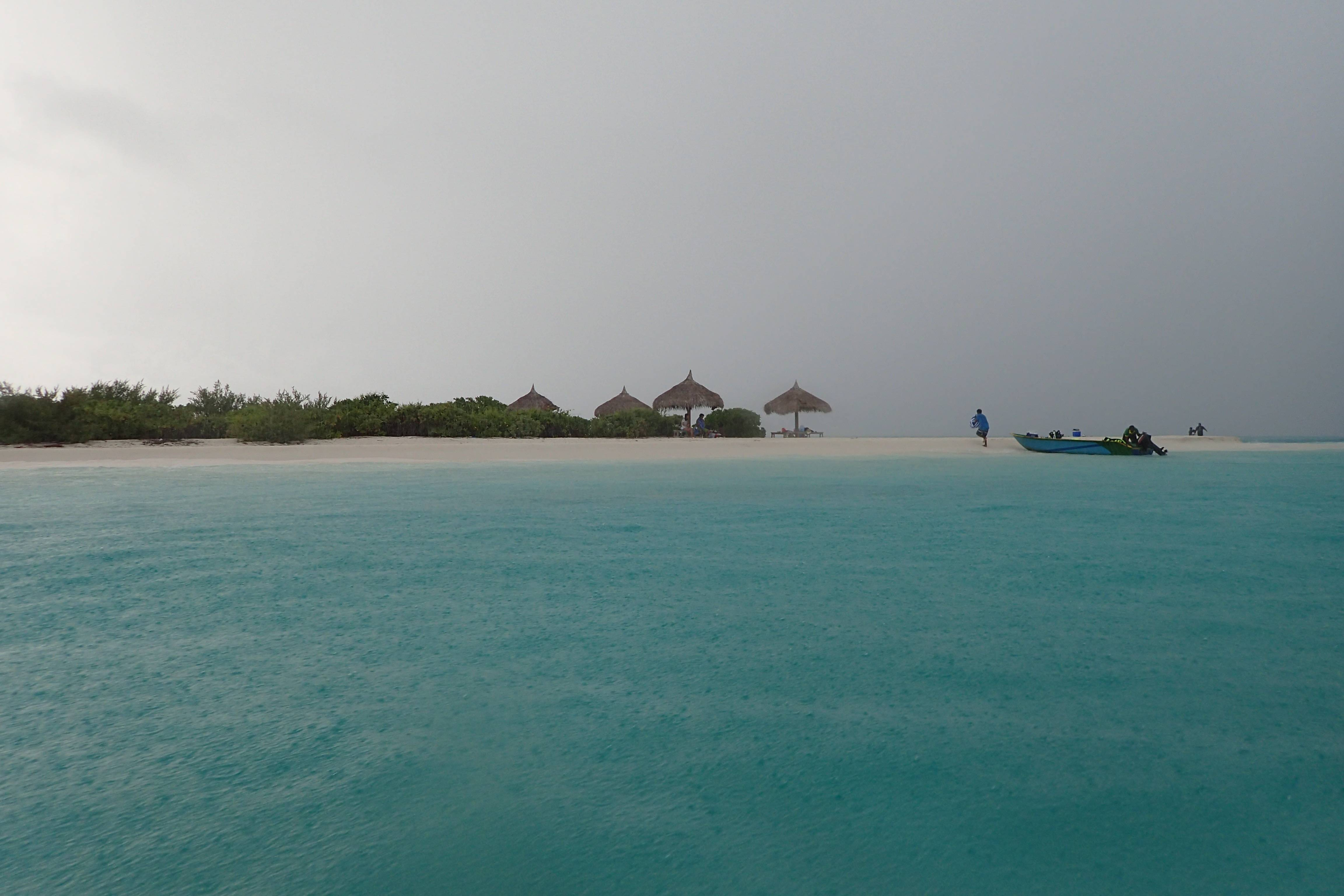 It was raining in Sandbank Island.