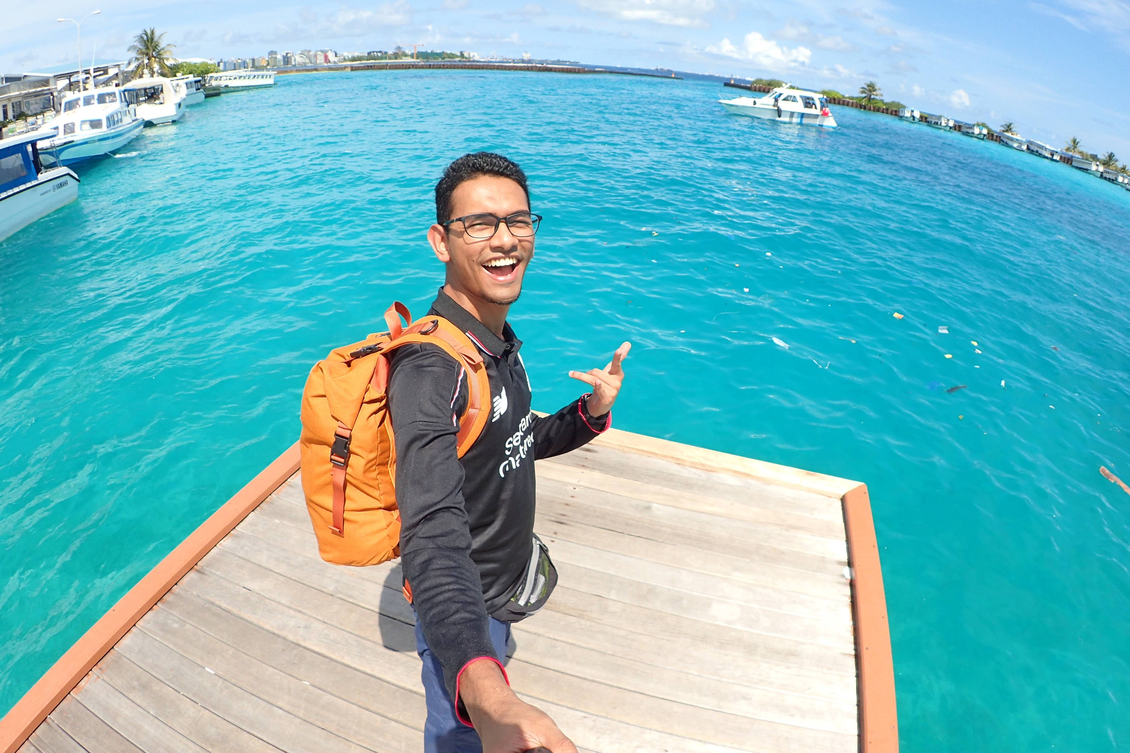 Selfie at the airport jetty.
