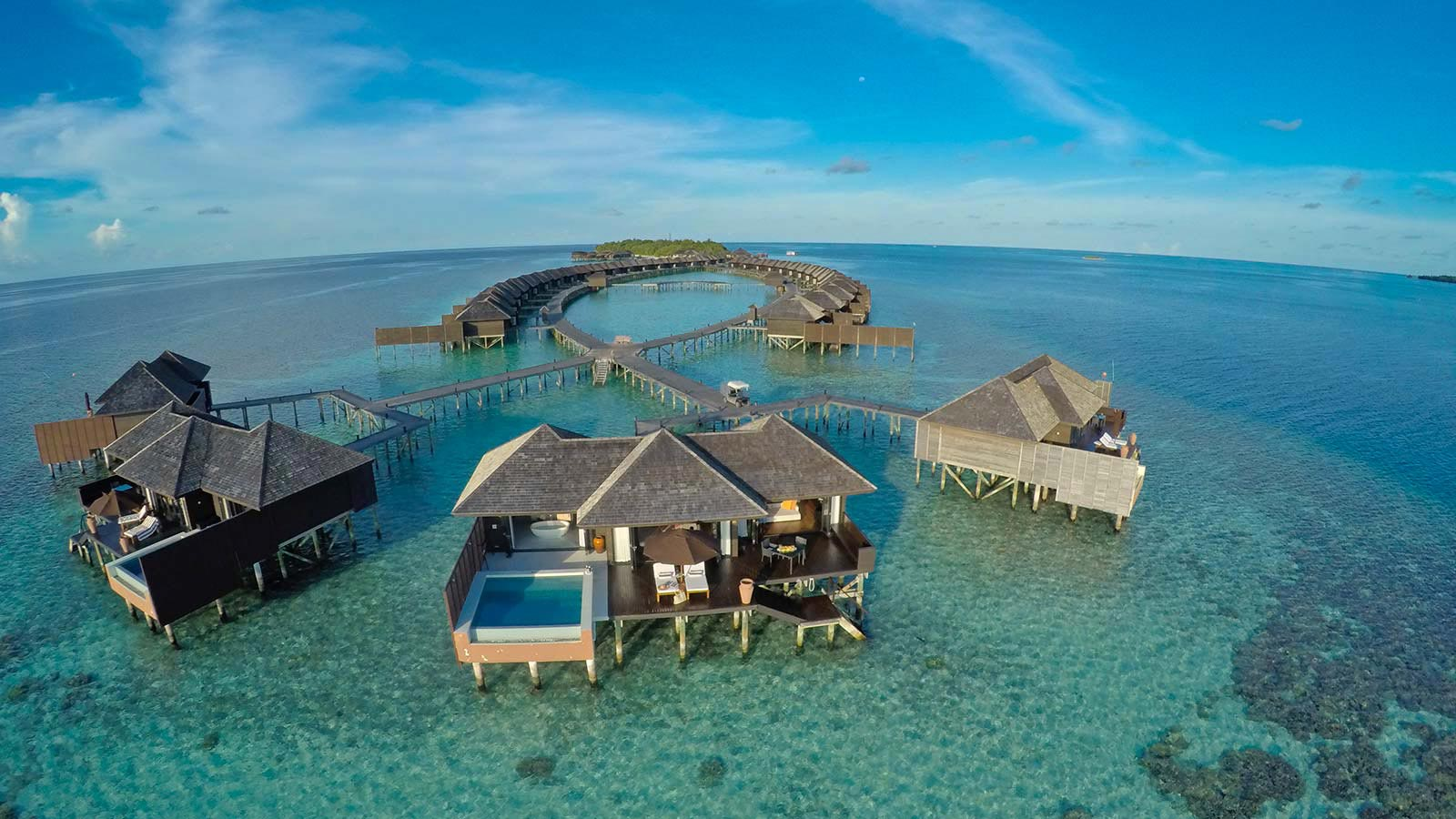 Maldives is famous for their luxury resorts and floating water bungalows.