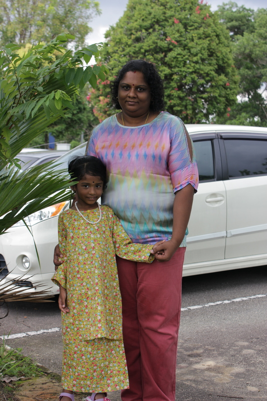 Deepalakshimy Paramanathan with her 6-year-old daughter.