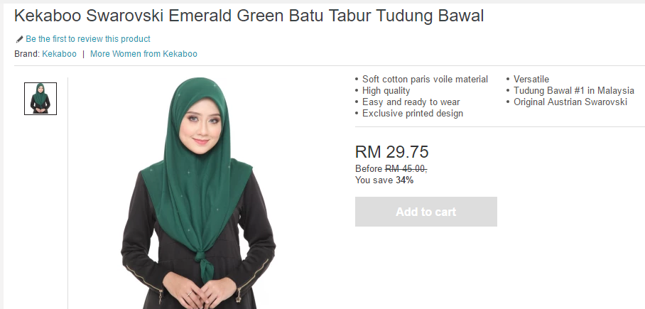 A Swarovski-studded Bawal Exclusive tudung that's on sale on Lazada.