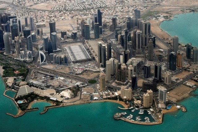 An aerial view of Doha, the capital of Qatar.