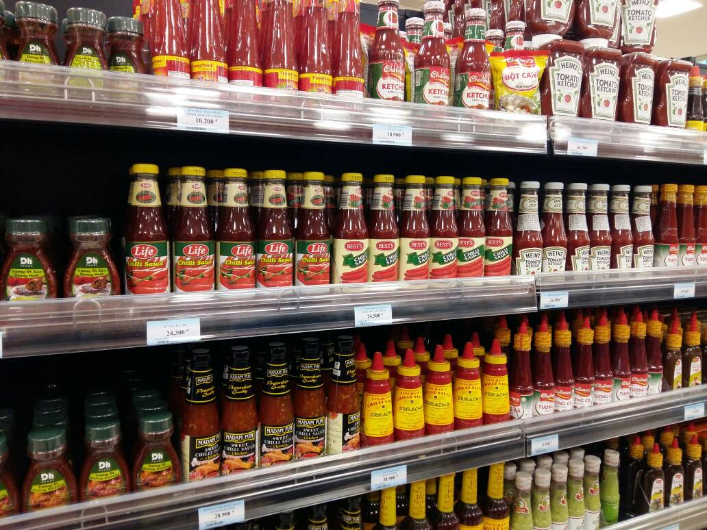 Life sauces displayed in Vietnam.