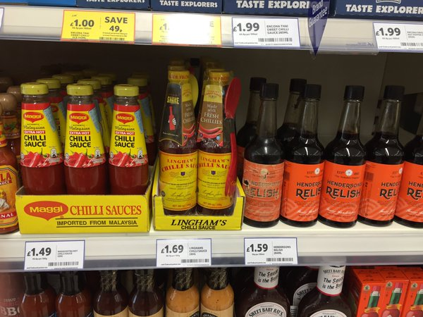 Lingham's chilli sauce in Tesco Sheffield.