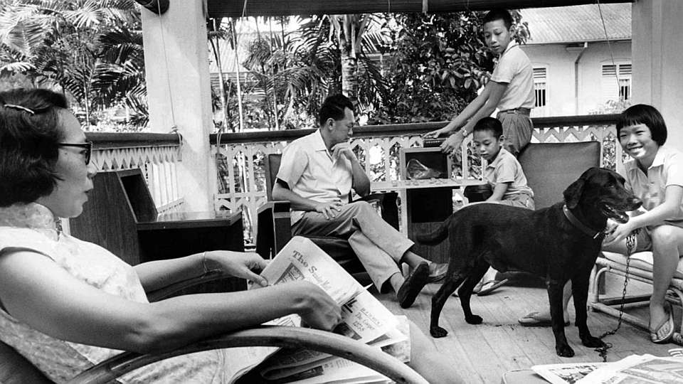 The late Lee Kuan Yew with his family at 38 Oxley Road.