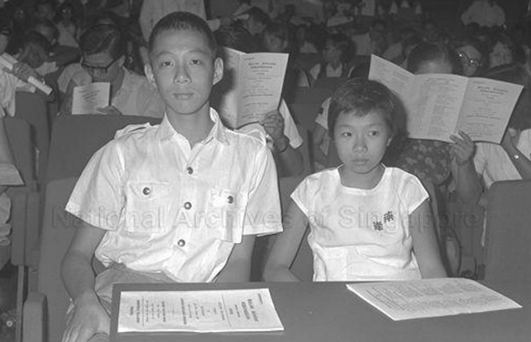 Lee Hsien Loong (14 years old) with sister Lee Wei Ling (10 years old) in 1966.