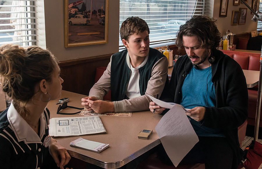 From left: Lily James as Debora, Ansel Elgort as Baby, and director Edgar Wright.