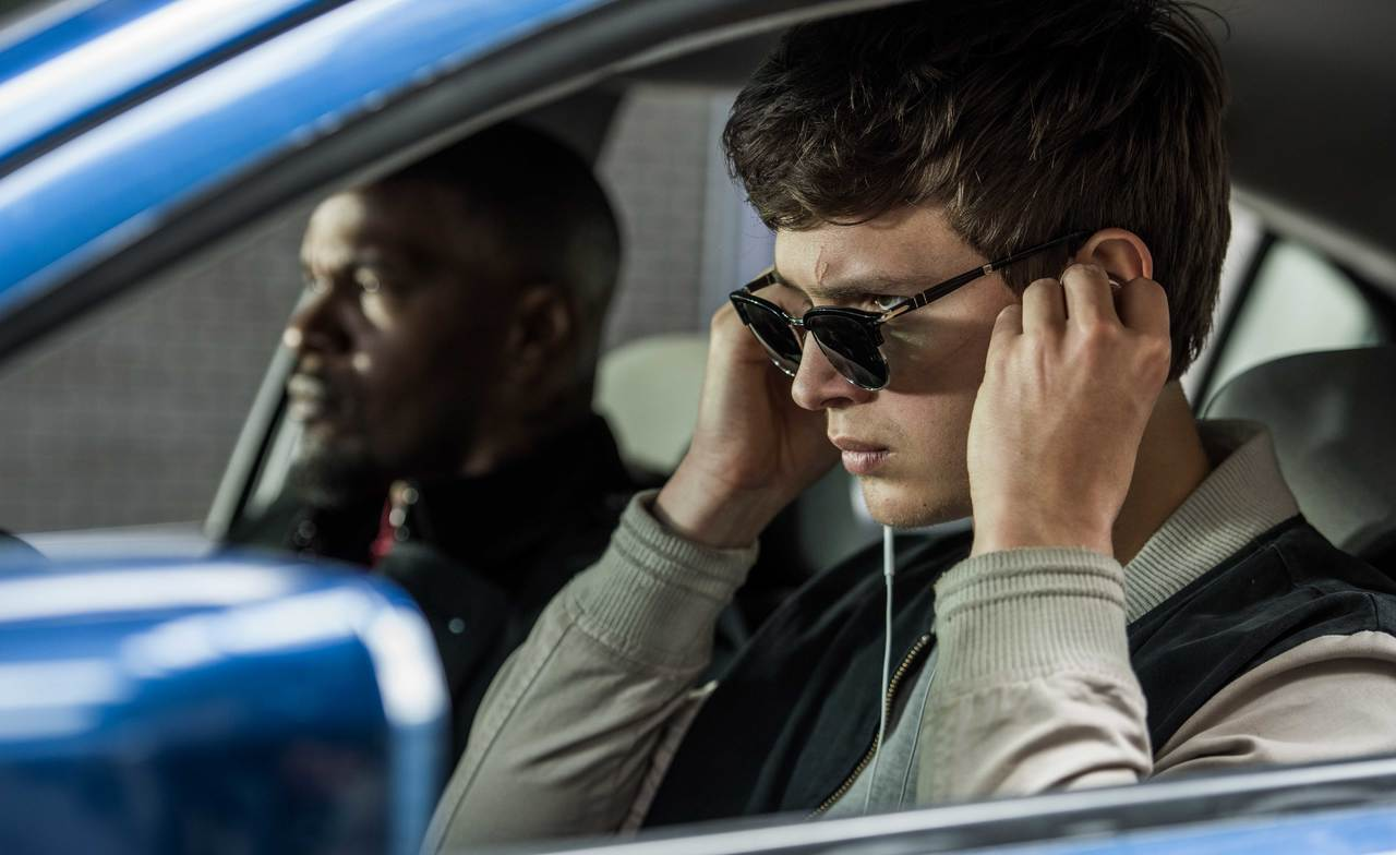 Ansel Elgort (foreground) and Jamie Foxx (background) in 'Baby Driver'.