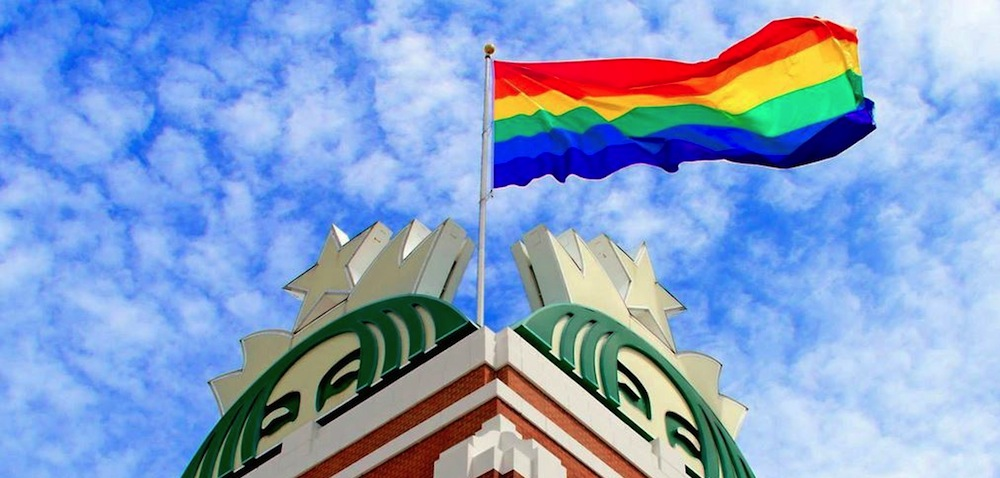 Pride Flag Flies at Starbucks Support Center in Seattle in June 2014.