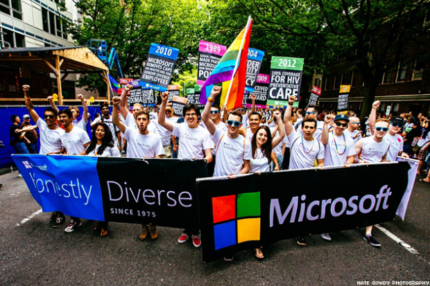 Microsoft employees march in the 2014 Pride Parade.