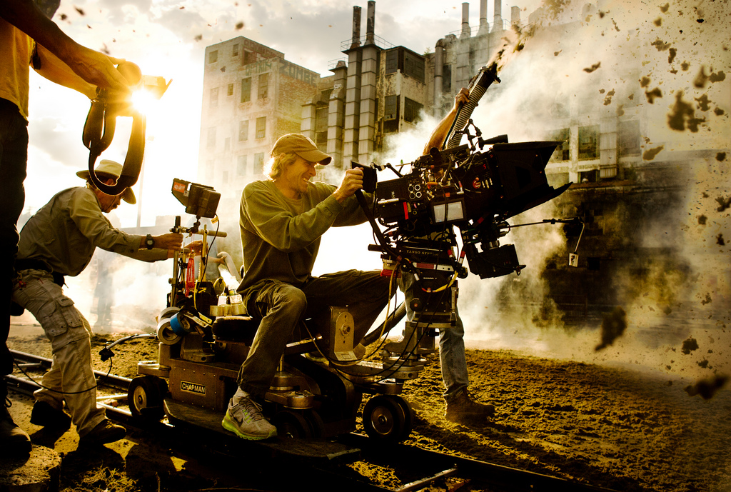 Director Michael Bay on the 'Transformers: The Last Knight' set.