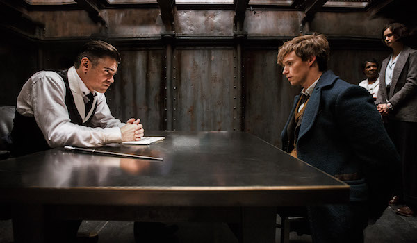 Colin Farrell as Percival Graves (later revealed to be Grindelwald in disguise) and Eddie Redmayne as Newt Scamander.