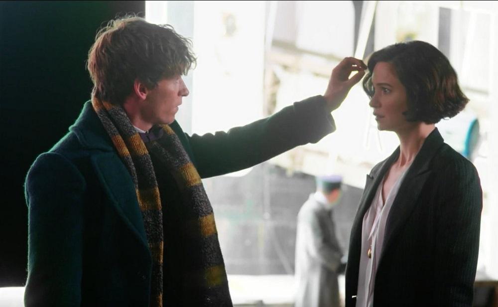 Eddie Redmayne as Newt Scamander (left) and Katherine Waterston as Tina Goldstein (right).