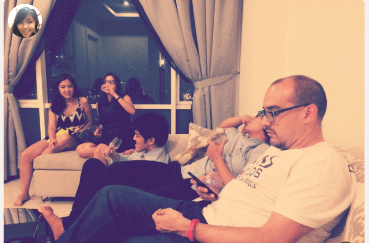 Dave McClure (far right) on the night they spent drinking and brainstorming with friends in Cheryl's apartment.