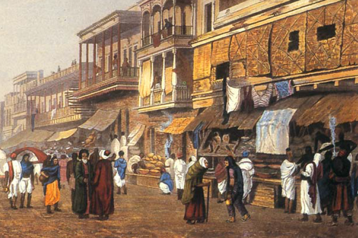 An artist depiction of Indian traders in Ancient India.