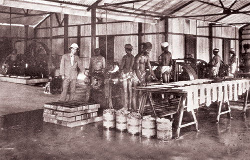An undated photo of Indian workers in a rubber factory in Malaya.
