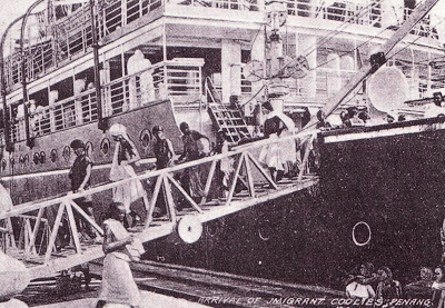 An undated photo of the arrival of Indian immigrants at the Penang port.