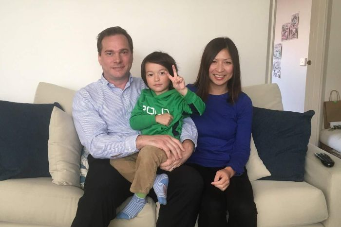 The family with their son Marcus who suffered from anaphylaxis on a Singapore Airlines flight.