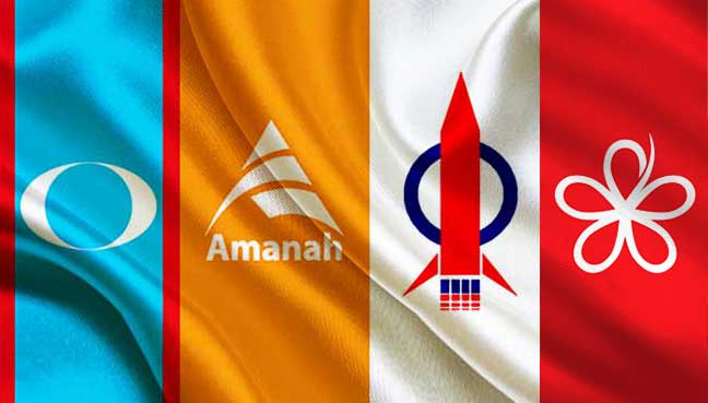 The flags of the four parties that make up Pakatan Harapan.