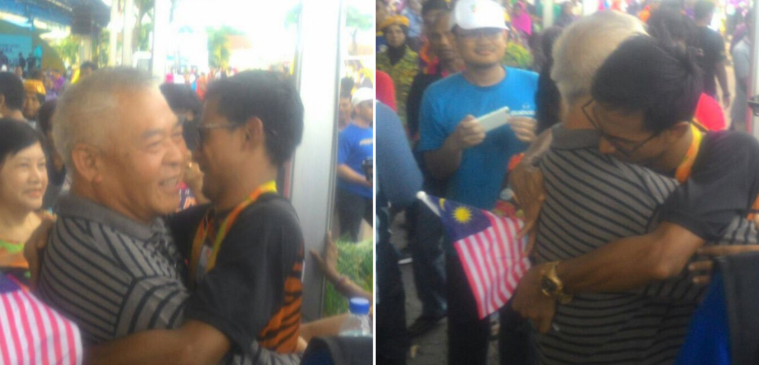 Ridzuan (right) met Chuah Heng Oon and gave him a hug.