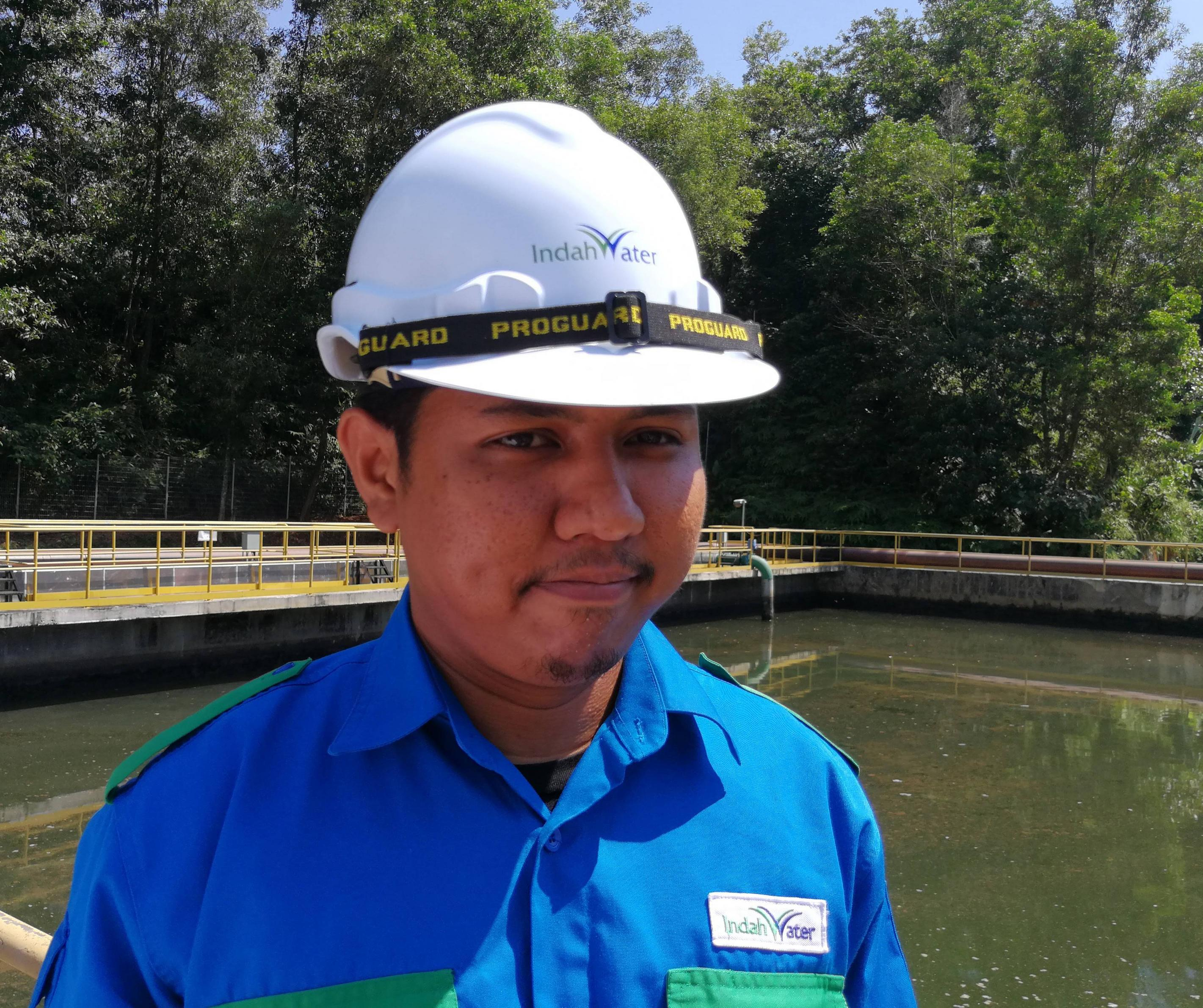 Airil is training as a treatment plant technician.