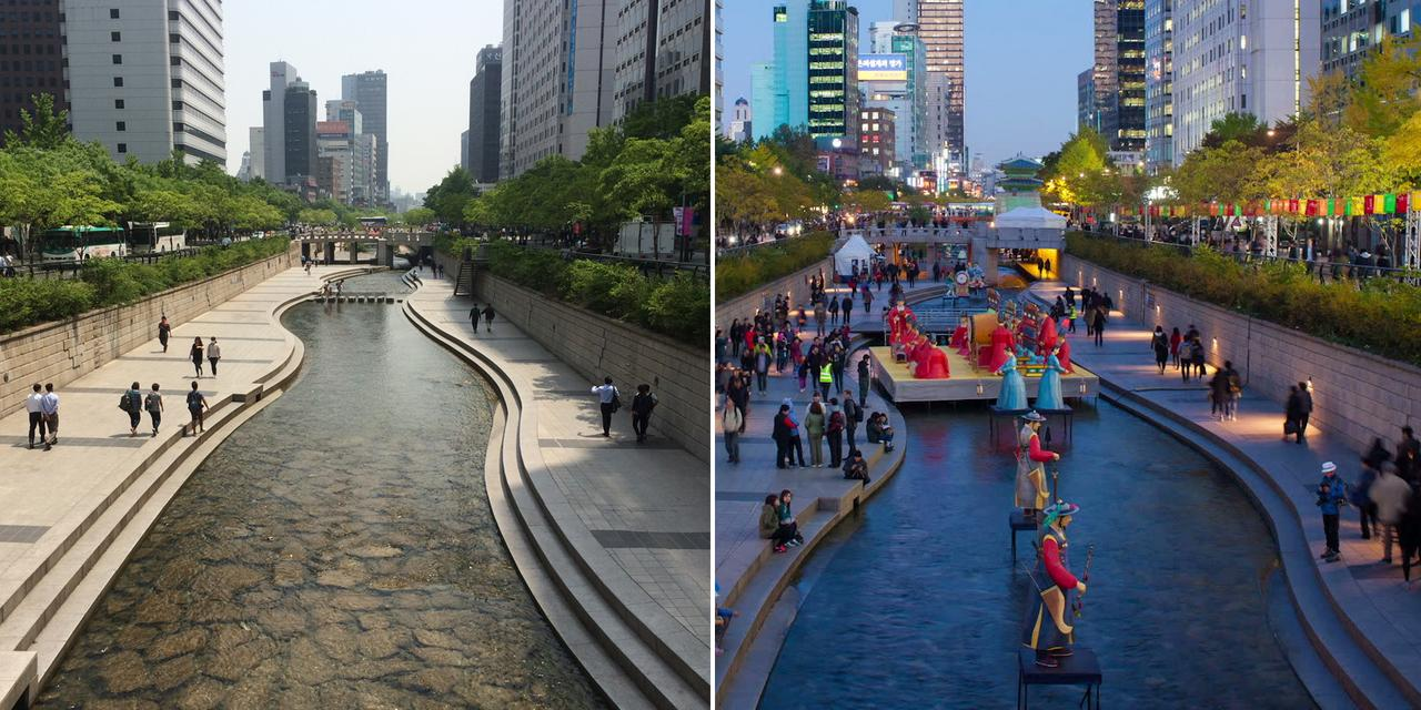 Cheonggyecheon Stream in Seoul, South Korea.
