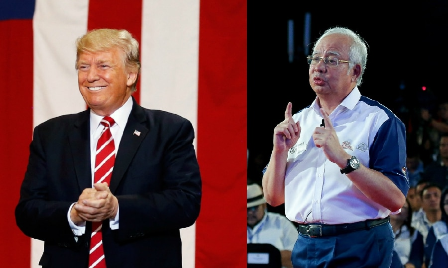 American President Donald J. Trump (left) and Prime Minister Datuk Seri Naijb Razak (right).