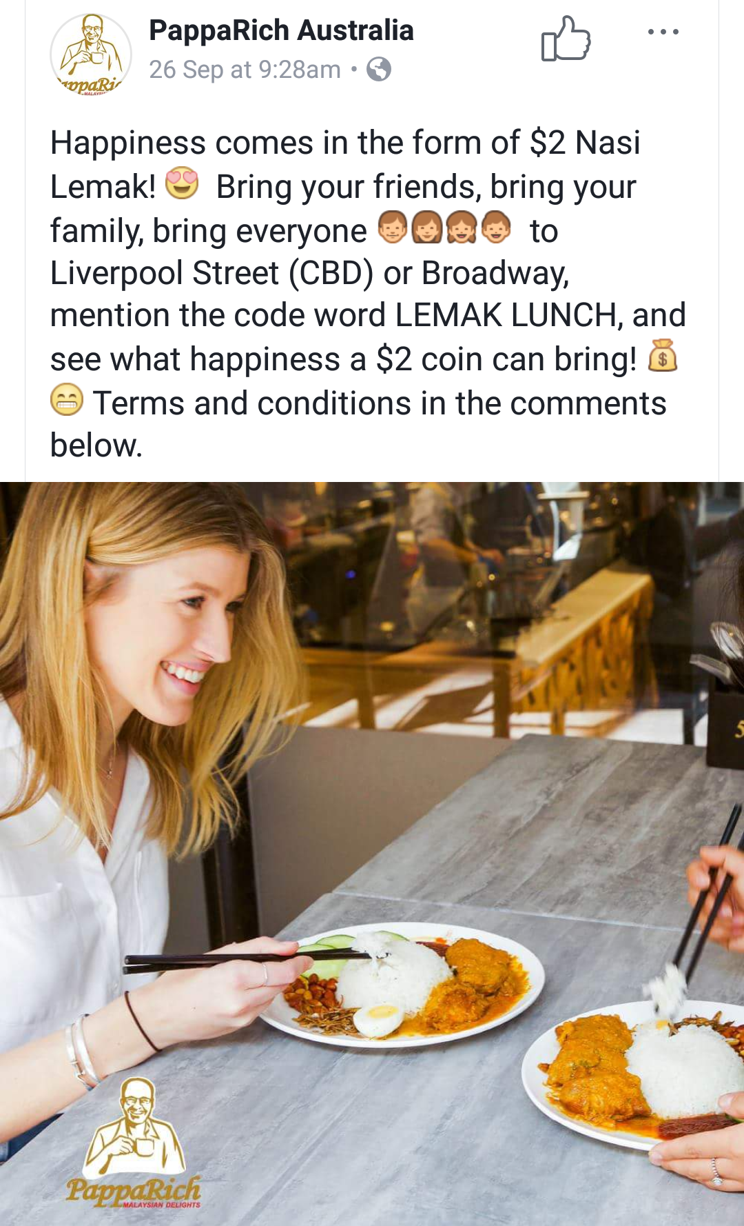 Image from PappaRich Australia Facebook