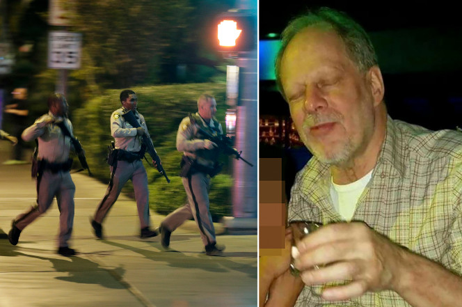 Stephen Paddock (right) was found dead in the hotel room