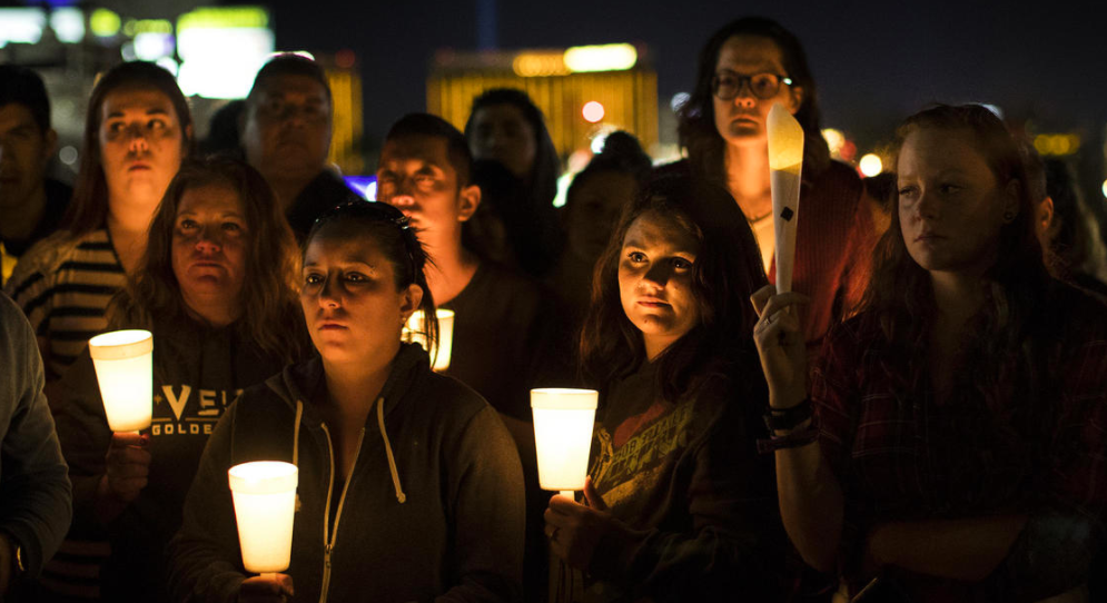 A candlelight vigil to remember the shooting victims was held at Town Square in Las Vegas.