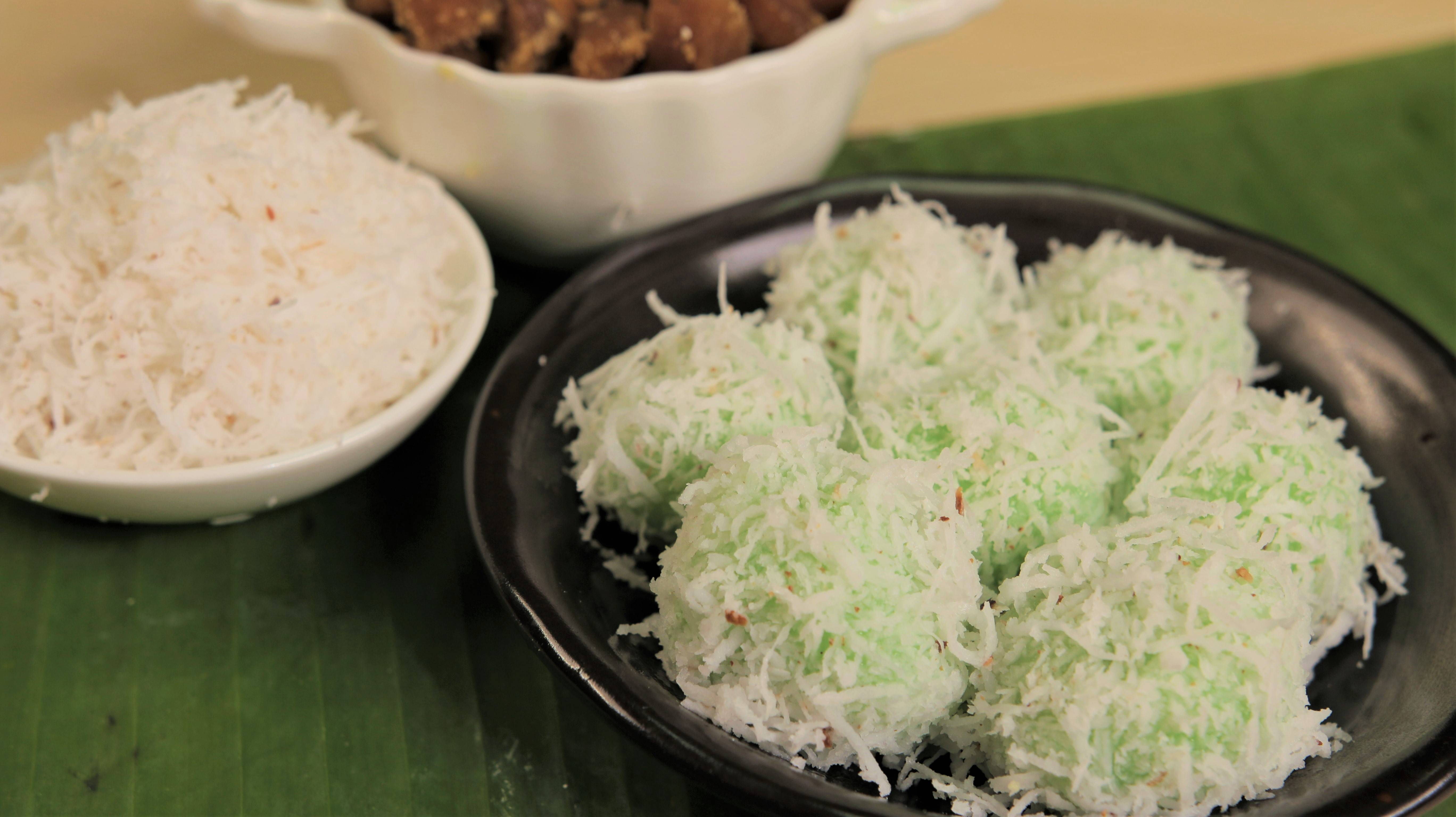 Extracted juices from pandan leaves are used to prepare desserts such as onde-onde.